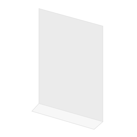 """Picture of L-Foot Sanitary Divider 24"""" W x 36"""" H x 1/8"""" D 6"""""""" Leg Clear Plastic"""