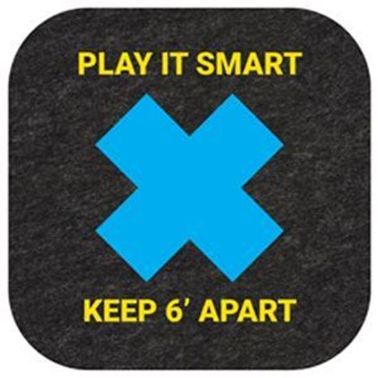 """Picture of """"Play It Smart, Keep 6' Apart"""" Floor Mat - Pack of 10"""
