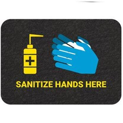 "Picture of ""Sanitize Hands Here"" Floor Mat - Pack of 4"