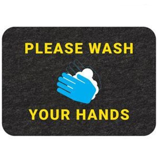 """Picture of """"Please Wash Your Hands"""" Floor Mat - Pack of 4"""